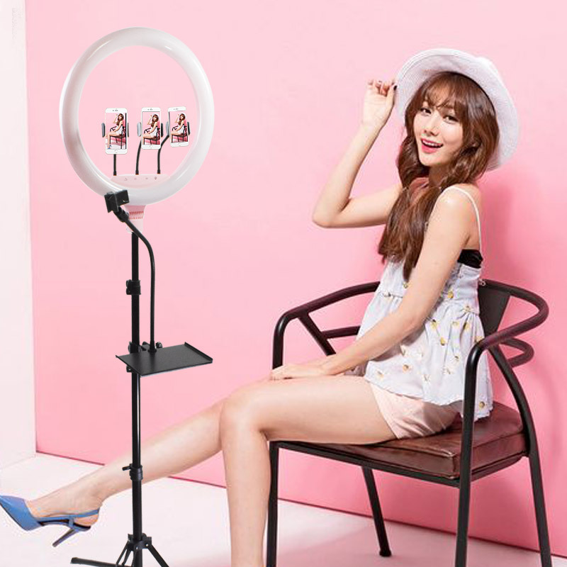 45cm 18inch Photography Dimmable LED Selfie Ring Light 65W Selfie Ring Lamp With 2M Stand Tripod for Makeup live Broadcast