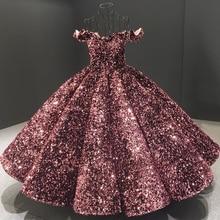 Dubai Bean Pink Off Shoulder Luxury Evening Gowns 2020 Sequins Sparkle Ankle Length Formal Dress Serene Hill HA2093