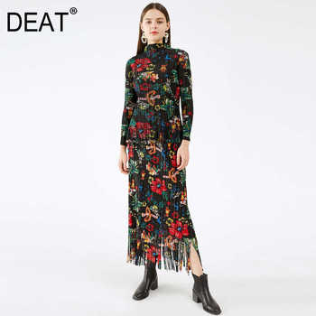 DEAT Pleated Suit Woman Indie Folk Floral Print Tassel Stand Collar Top + Pick Hip Long Skirt Slim 2021 New Autumn Fashion HT119 1