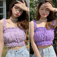 New Summer Camisole Ladies Sweet Plaid Pattern Ruffles Vintage Camisole Sleeveless V Neck Sling Sexy Camisole Tops
