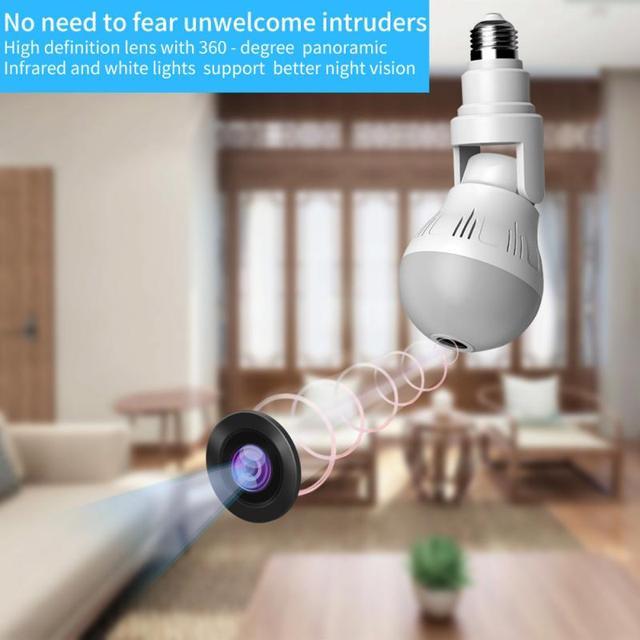 360° Panoramic Wifi Camera E27 Light Bulb HD 1080P Security IP Camera Baby Pet Monitoring Good LED Light Effect Lighting 3