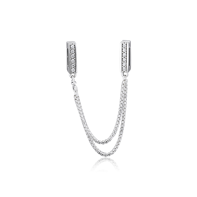 Authentic 925 Sterling Silver Sparkling Safety Chain Clip Charm Beads Fits Pandora Reflexions Bracelet Party Gift for Women