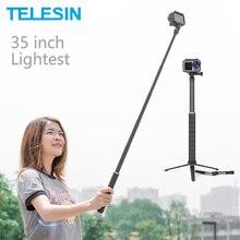 TELESIN 35inch Carbon Fiber Lightest Selfie Stick + Aluminium Alloy Tripod For GoPro Hero 5 6 7 8 9 For Osmo Action Accessories