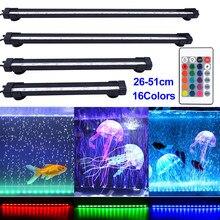 Aquário rgb conduziu a luz da barra à prova d30 água do tanque de peixes luz 26/31/46/51cm aquario subaquático lâmpada aquários iluminação decorativa d30