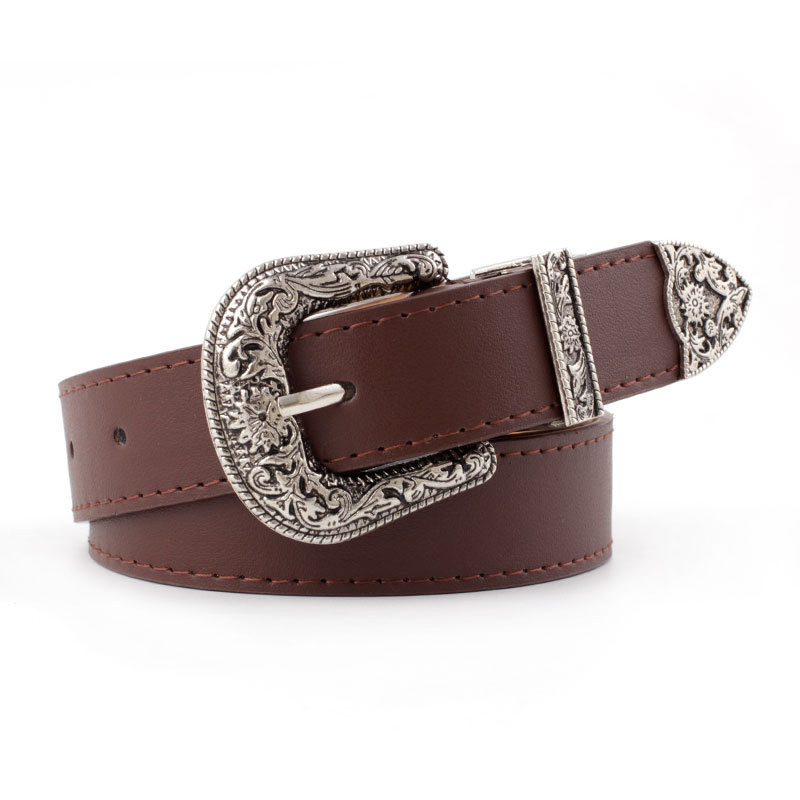 Western Girls Leather Belt with Silver Heart Buckle