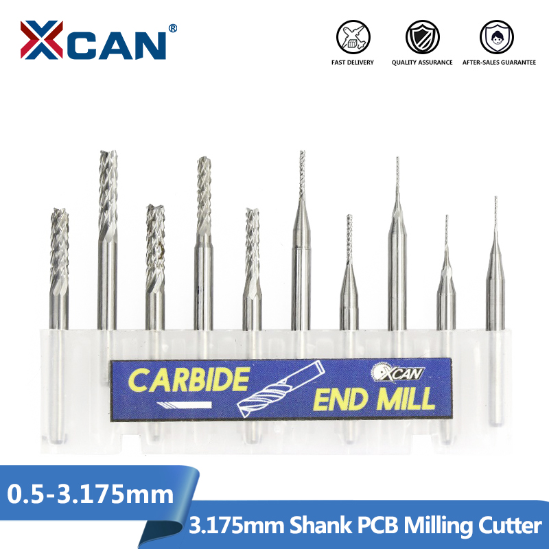 10pcs High Precise Parallel Carbide 1mm CNC PCB Milling Cutter Bits