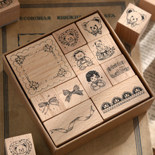 11 pcs/set Cute bow bear decoration stamp wooden rubber stamps for scrapbooking stationery DIY craft standard frame seal