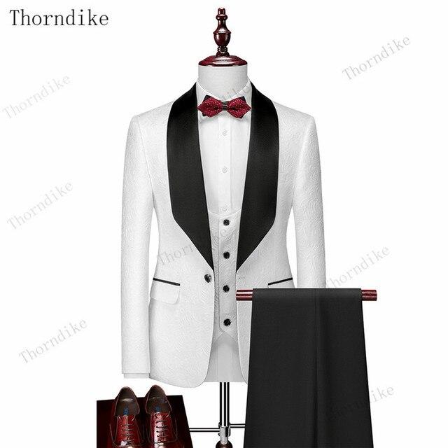 Thorndike Mens Wedding Suits  White Jacquard With Black Satin Collar Tuxedo3 Pcs Groom Terno Suits For Men(Jacket+Vest+Pants) 1