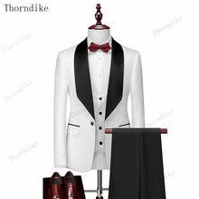 Thorndike męskie garnitury ślubne białe żakardowe z czarnym satynowym kołnierzem smokingi 3 szt. Groom Terno garnitury dla mężczyzn (kurtka + kamizelka + spodnie)