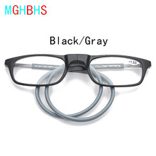 Mghbhs magnético pendurar um pescoço óculos de leitura portátil magnético óculos de leitura para homens e mulheres + 1.50 2.00 + 2.50