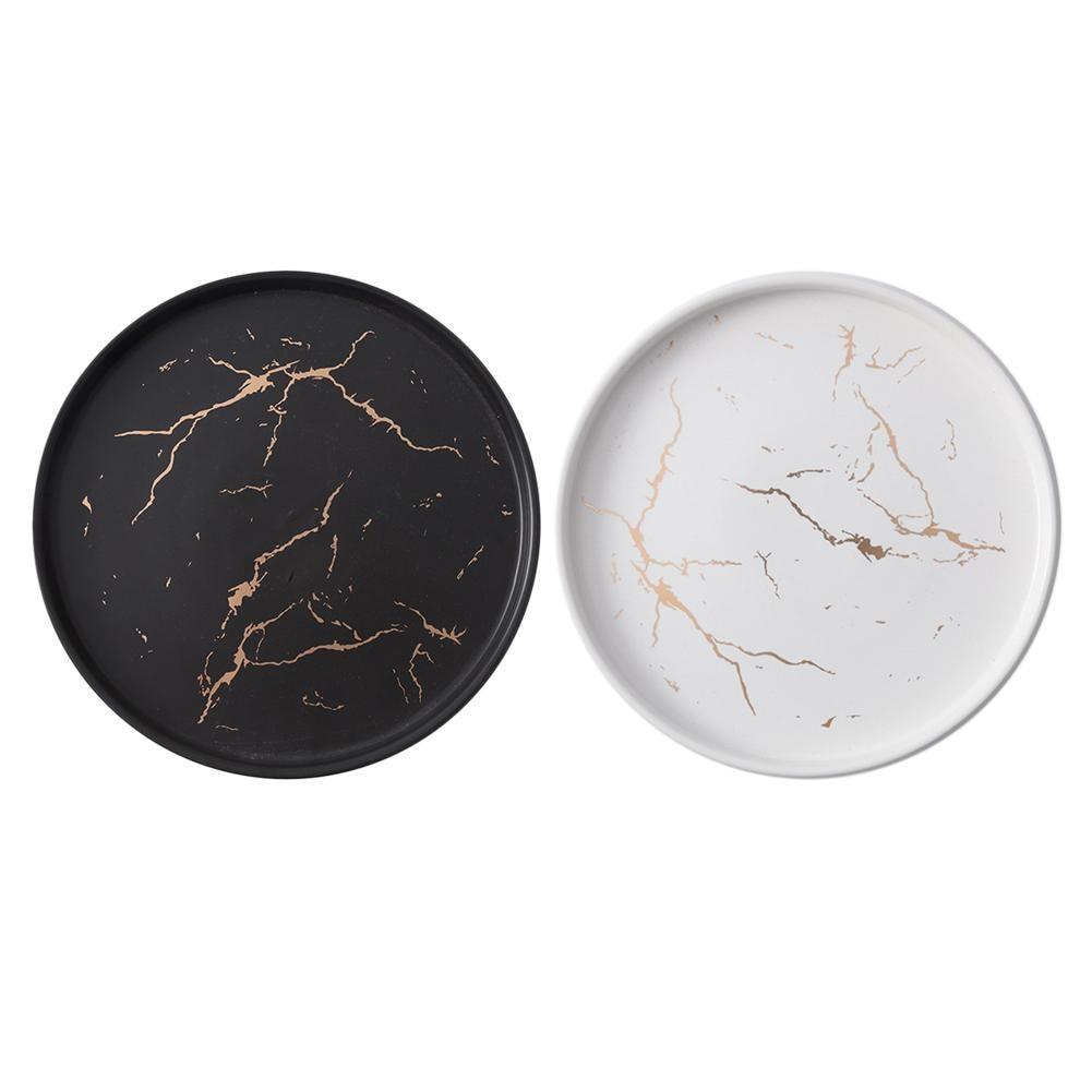 Nordic Style Marble Dish Innovative Home Ceramic Dish Western Dish Steak Plate Black Tableware Breakfast Plate Flat Plate