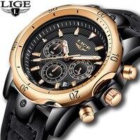 2018 LIGE Mens Relógios de Ouro Marca de Luxo Relógio de Quartzo Dos Homens Casuais de Couro À Prova D' Água Militar Esporte Relógio De Pulso Relogio masculino Relógios de quartzo     -
