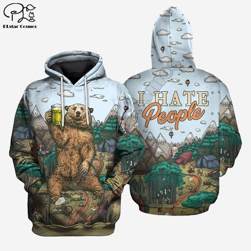 Men harajuku hunting bear I hate people print <font><b>3d</b></font> <font><b>hoodie</b></font> <font><b>Unisex</b></font> beer Sweatshirt zipper women Pullover streetwear jacket tracksuit image