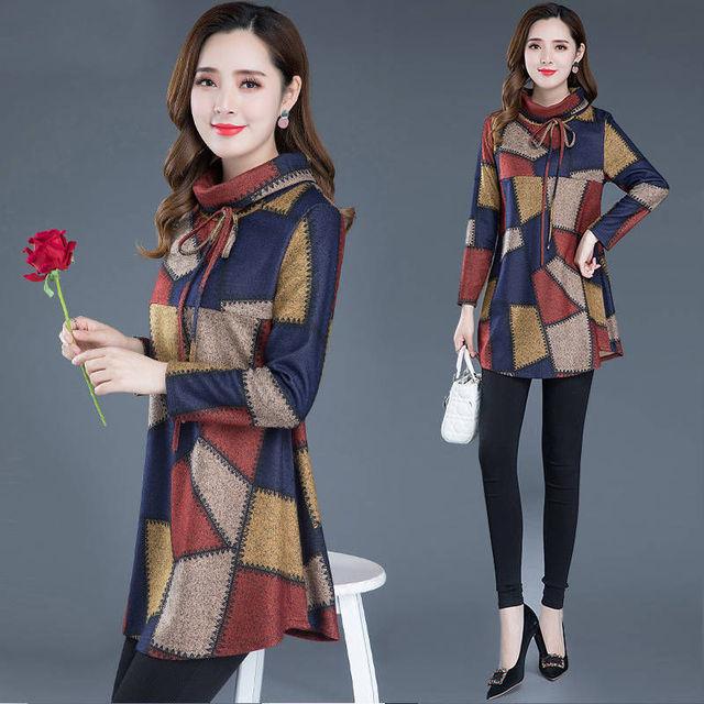 Tunic Women Long sleeve Plus size Tops Vintage Blouse Turtleneck Plaid Autumn Winter Warm Shirt Clothes Ladies Casual 3