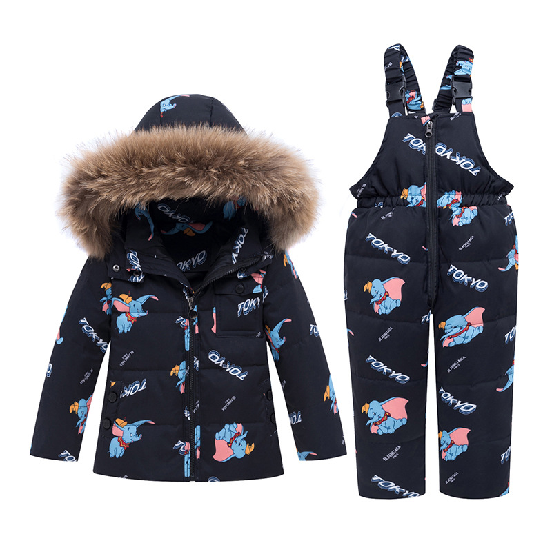 -30 Degree Winter Warm Down Jacket Children Clothing Sets Toddler Boys Down Coats + Overalls Kids Snowsuit For Girls 1-5 Years