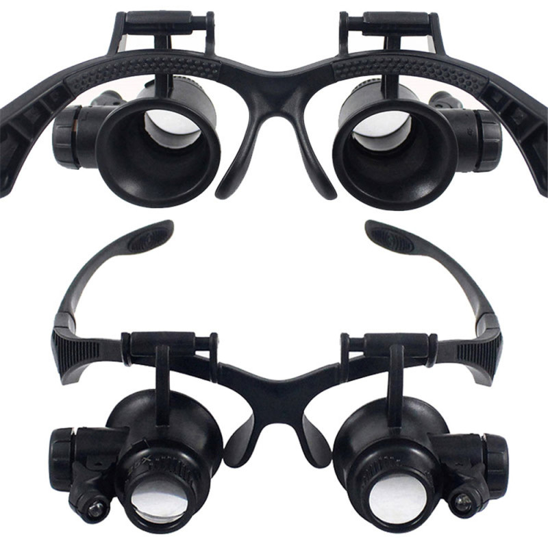 Headband 10X 15X 20X 25X LED Light Glasses Magnifier Set Watchmaker Jewelry Optical Lens Glass Loupe Magnifying Glass Portable