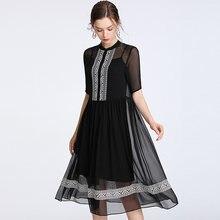 Женское Повседневное платье из 100% шелка элегантное с круглым