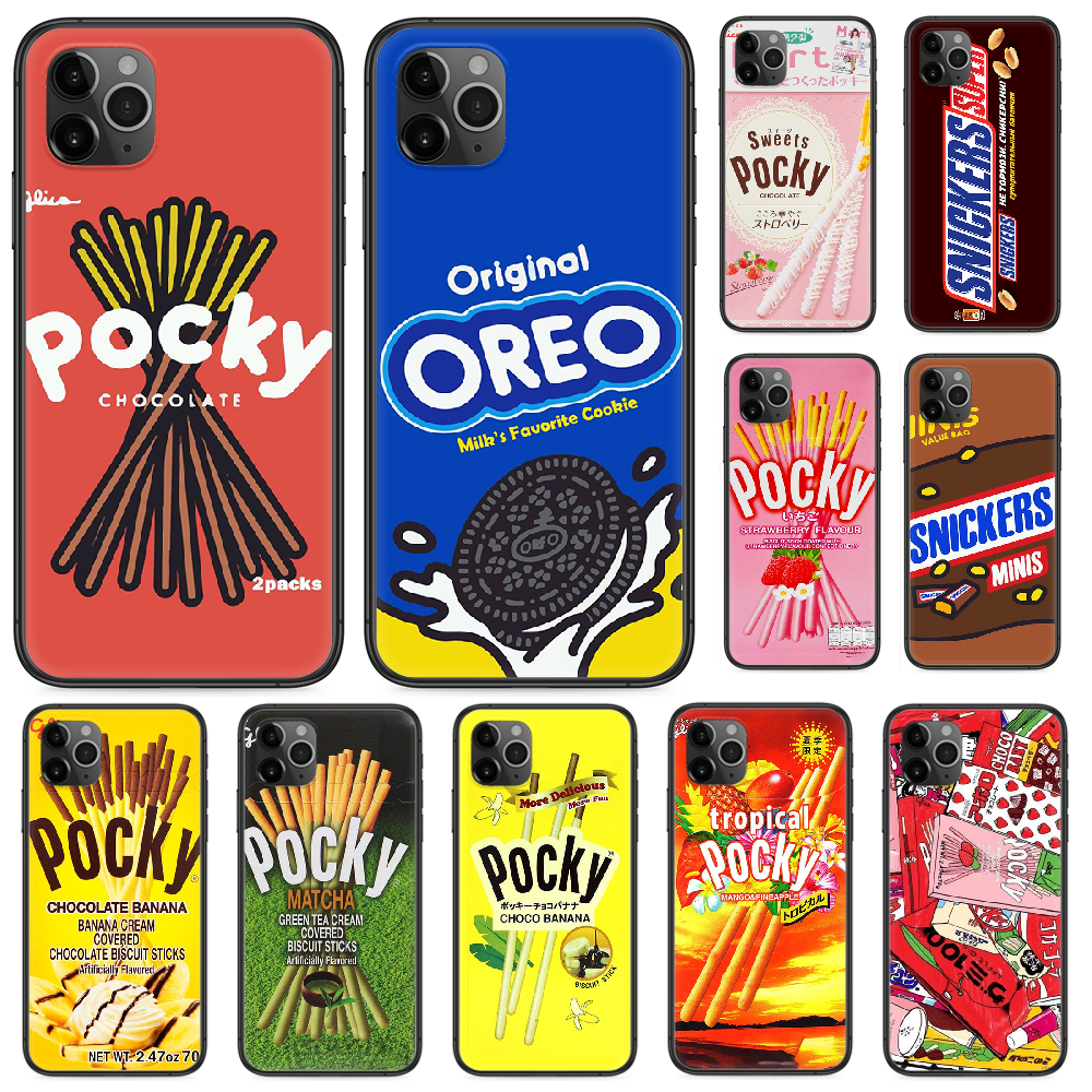 Chocolate pocky oreo snickers Phone case For iphone 4 4s 5 5S SE 5C 6 6S 7 8 plus X XS XR 11 PRO MAX 2020 black coque soft funda