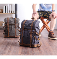 Men Backpacks Vintage Waxed Canvas Leather School Military Backpack Large Capacity Waterproof Bagpack Travel Laptop Rucksack Bag