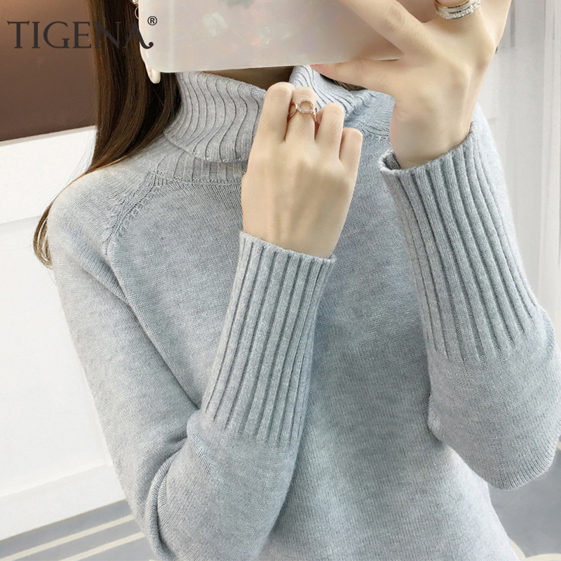 TIGENA Women Turtleneck 2019 Winter Thick Warm Knitted Pullover Sweater Women Jumper Long Sleeve Green Pink Khaki Sweater Female