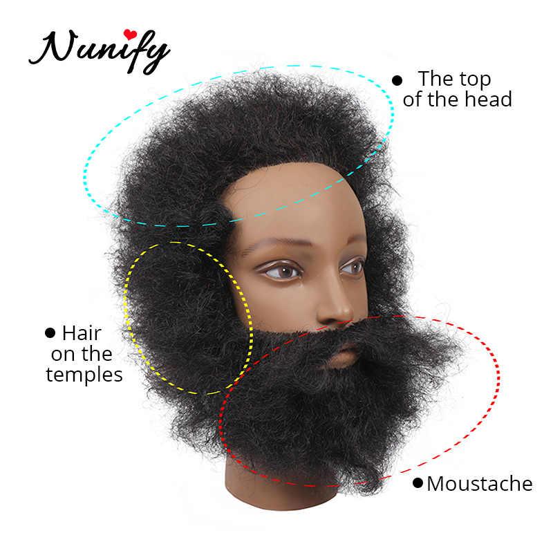 Nunify % 100% insan saçı Afro manken kafa kuaförlük eğitim müdürü uygulama için şekillendirici örgü afrika kukla kafa ve standı