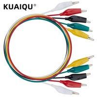 10 piezas 5 colores 50cm juego de pinzas de cocodrilo doble e-Clips pinzas con Cable puente con pinzas de cocodrilo cables de prueba