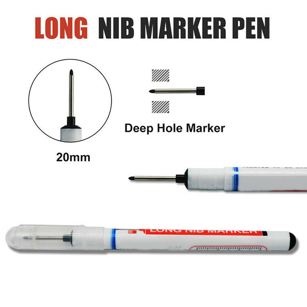 20mm Writing Carpenter Construction Deep Hole Home Decoration Water Resistant Quick Drying Marker Pen Multifunction Long Nib