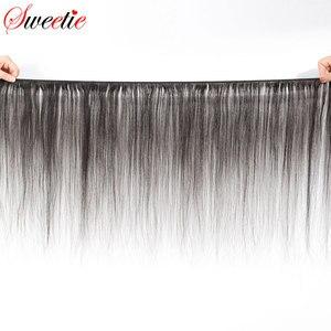 Image 2 - 甘い毛ブラジル毛束ストレート閉鎖 100% 人毛 3 バンドルでレースクロージャー無料部分と非レミー髪