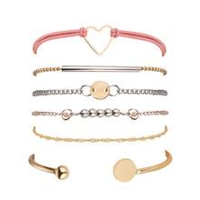 6pcs/set Female Heart Gold Color Chain Bracelets Women Beads Open Cuff Bracelet Ladies Adjustable Rope Bohemian Jewelry