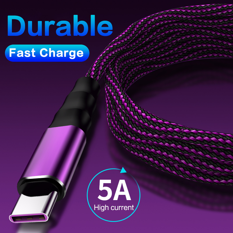 5A Nylon Smart Auto Disconnect Cable IPad Micro USB Type C  Fast Charging Power Off USB Charger Protection Cable For Samsung S8