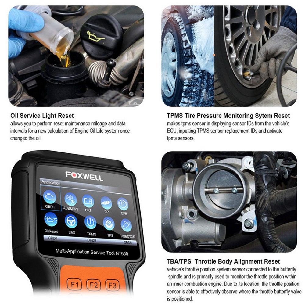 FOXWELL NT650 OBD2 Automotive Scanner ABS Airbag SAS DPF EPB Öl Reset-Code Reader Professionelle Auto Diagnose Werkzeug OBD2 Scanner