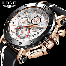 LIGE Casual Sport Watches for Men Gold Top Brand Luxury Military Leather Wrist