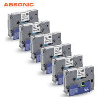 Absonic 6PCS TZe-231 for Brother Labeler Black on White Cartridge Tapes for P-touch Label Maker Tag Printer TZe 231 TZ-231 TZ231