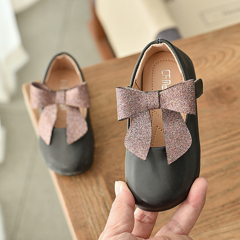 Girls Princess Shoes Pu Leather Girls Kids Shoes For Dance Party Child Girl Single Shoes For Baby Bow Flat Shoes B131