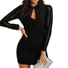 Spring Women Fashion Black Package Hip Mini Robes Work Dress