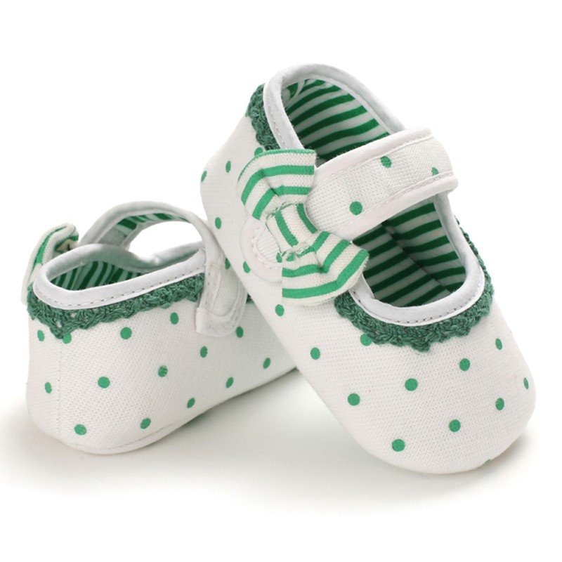 Green Dot Newborn Baby Prewalker Soft Soled Anti-slip Shoes Footwear Bow Princess Girl Crib Mary Jane Flower Shoes P
