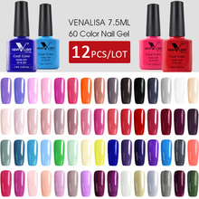 12pcs * 7.5ml VENALISA 젤 광택 빠른 배송 원래 네일 아트 매니큐어 60 색상 젤 래커를 흡수 LED UV 젤 매니큐어