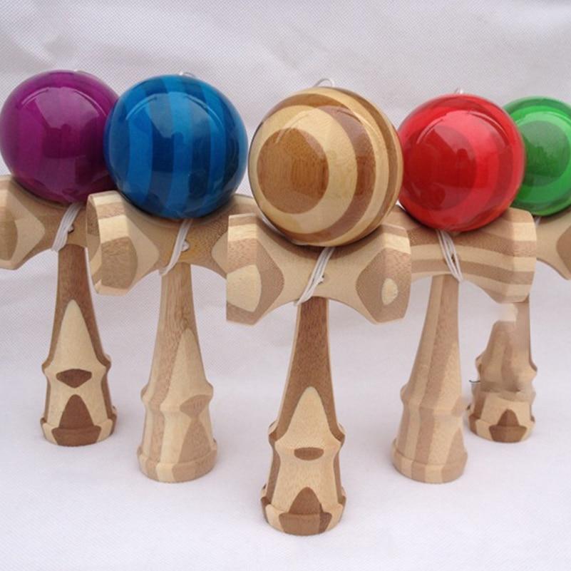 1 Piece Bamboo PU Paint Wooden Kendama Balls Skillful Jumbo Kendama Outdoor Juggle Game Balls For Gift Professional Kendama Ball