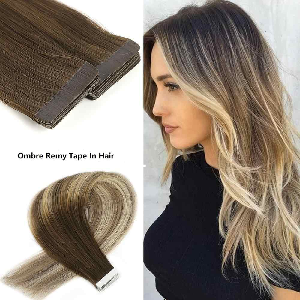 "Neitsi 10PCS Remy Tape In Human Hair Extensions Double Drawn Adhesive Straight Hair Skin Weft 16"" 20"" 24"" Multi Colors"