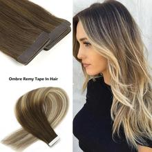 "Neitsi 10Pcs Remy Tape In Human Hair Extensions Double Drawn Lijm Steil Haar Huid Inslag 16 ""20"" 24 ""Multi Kleuren"