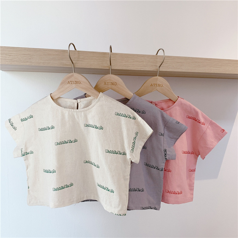 3377 2020 Children's Summer Short Sleeve Letter Printed T-shirt Girl's Korean Loose Cotton Tops Kids Casual T Shirts