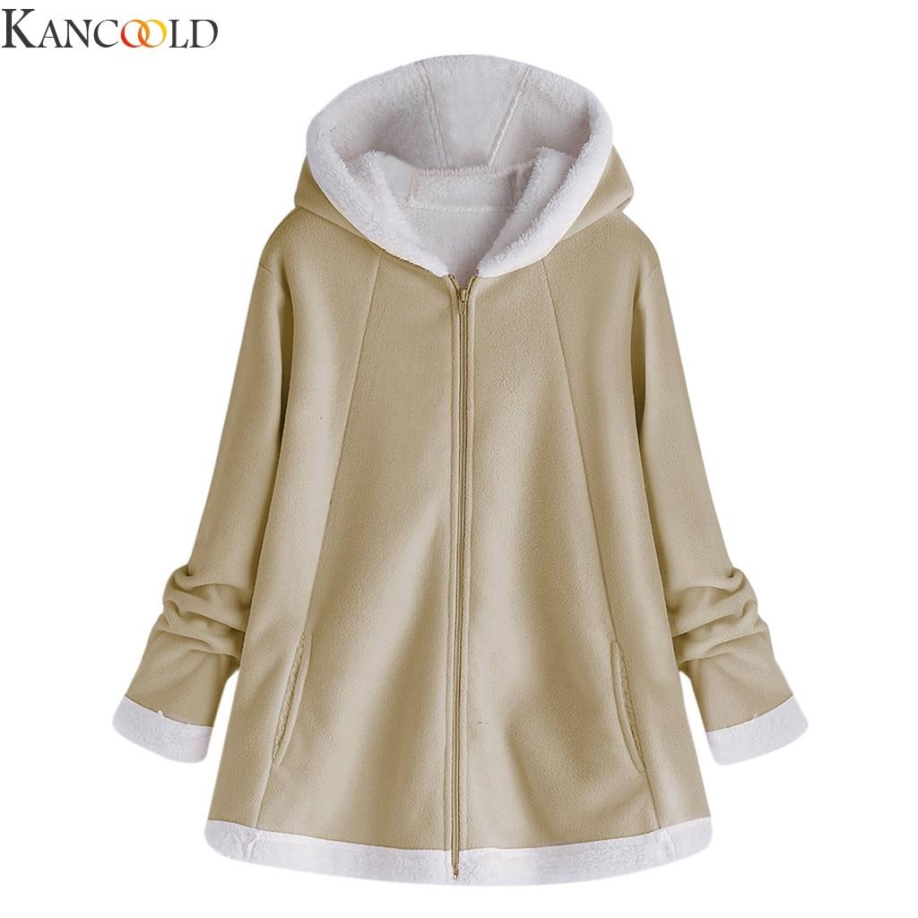 KANCOOLD Jackets Pink Gray Khaki Sherpa Fleece Warm Hoodies Women Casual Winter Thick Fleece Zipper Hoody Adult Coats Top