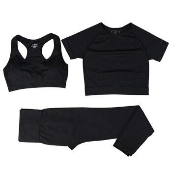 Seamless Women Vital Yoga Set Workout Shirts Sport Pants Bra Gym Clothing Short Crop Top High Waist Running Leggings Sports Set 27