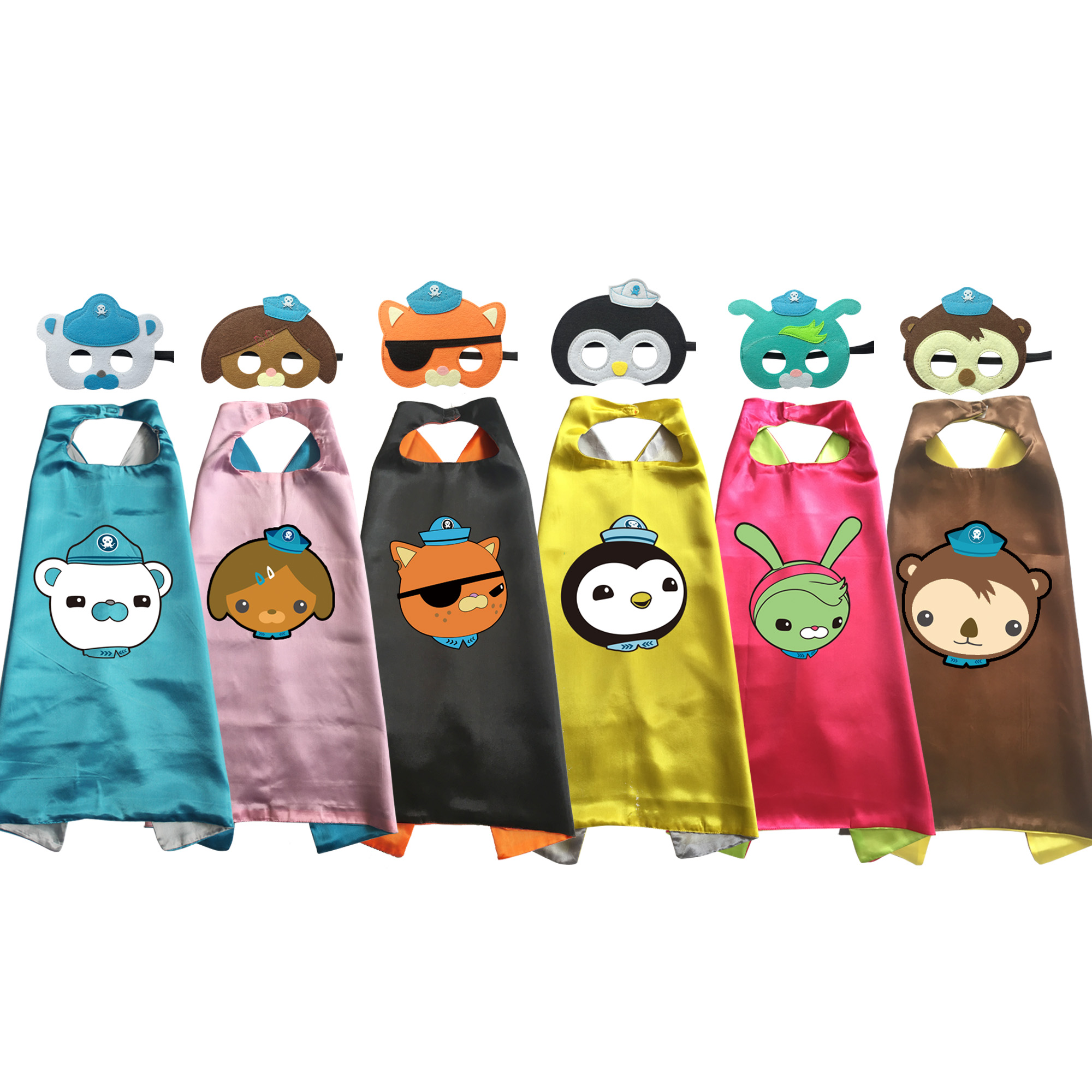 Octonauts Costumes Cape with Mask for Kids Birthday Party Favor Kwazii Barnacles Dashi Peso Cosplay