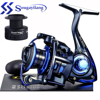 Sougayilang Carp Fishing Reel 13+1 BB Spinning Reel with Free Spool Aluminum Body 5.0:1 Gear Ratio Fishing Reel for Carp Fishing ryobi proskyer nose fishing reel 3 9 1 gear ratio spinning reel 12kg max drag aluminum spool carp fishing reels for saltwater