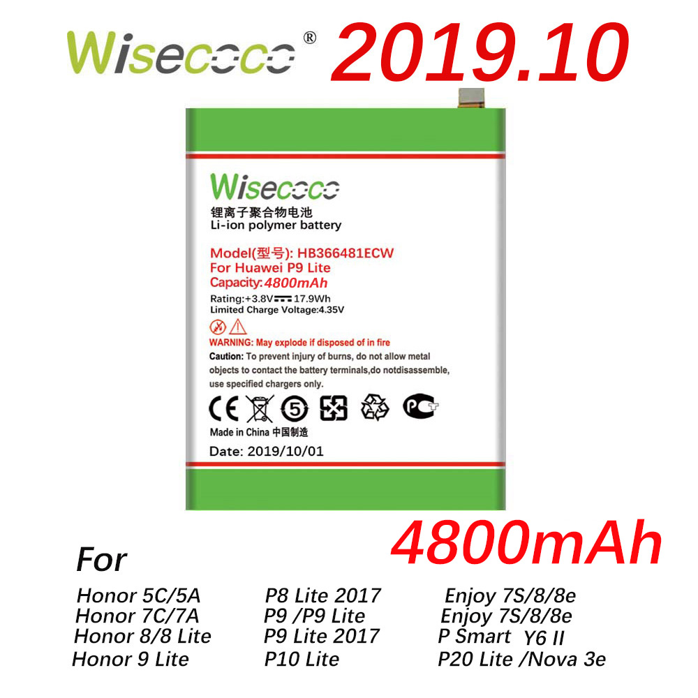 Wisecoco 4800mAh HB366481ECW Battery For Huawei P9 5C (P9 G9 P10 Lite) G9 Honor 7C 7A 8 8E Lite/ Y6 II EVA-AL00/AL10 L09 TL00