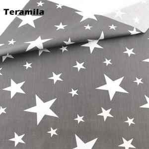 2021 News Gray Stars Style Cotton Fabric Textile Patchwork Sewing Children Cloth Tissue Teramila Fabrics Art Work Decoration CM