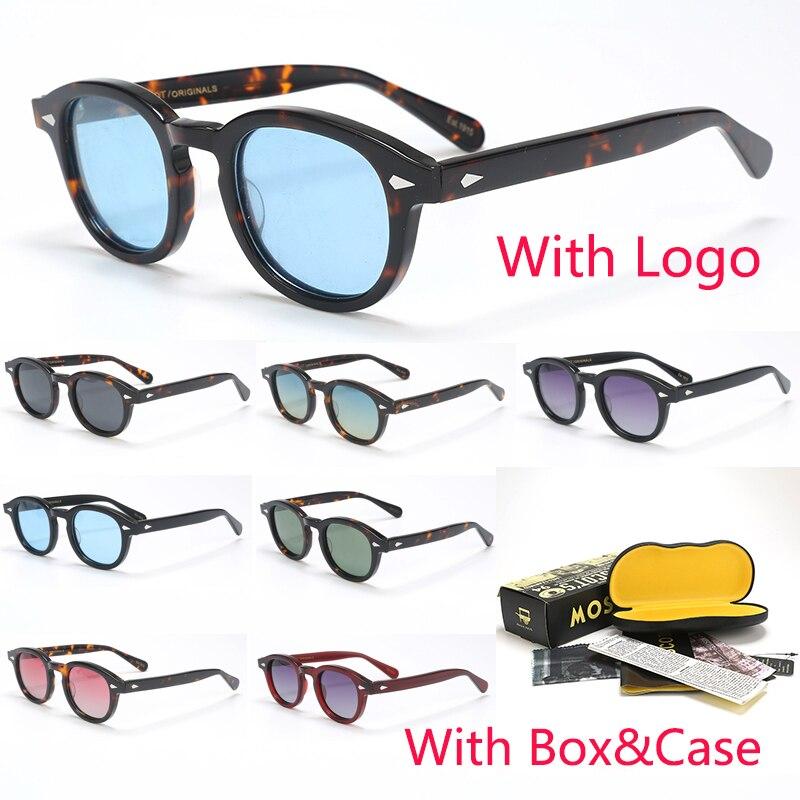 Johnny Depp lunettes de soleil polarisées hommes avec étui et boîte cadre en acétate marque lunettes de soleil design pour homme UV400 Oculos de 080