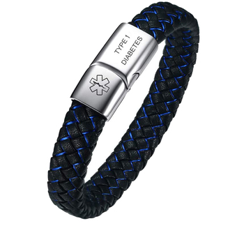 2020 Blue Braided Leather Medical Alert Bracelet for Men Magnetic Clasp Cuff Wristband Customized  Jewelry Gift trendy mens bracelets white braided leather rope bracelet jewelry stainless steel magnetic clasp fashion male wristband sp0006