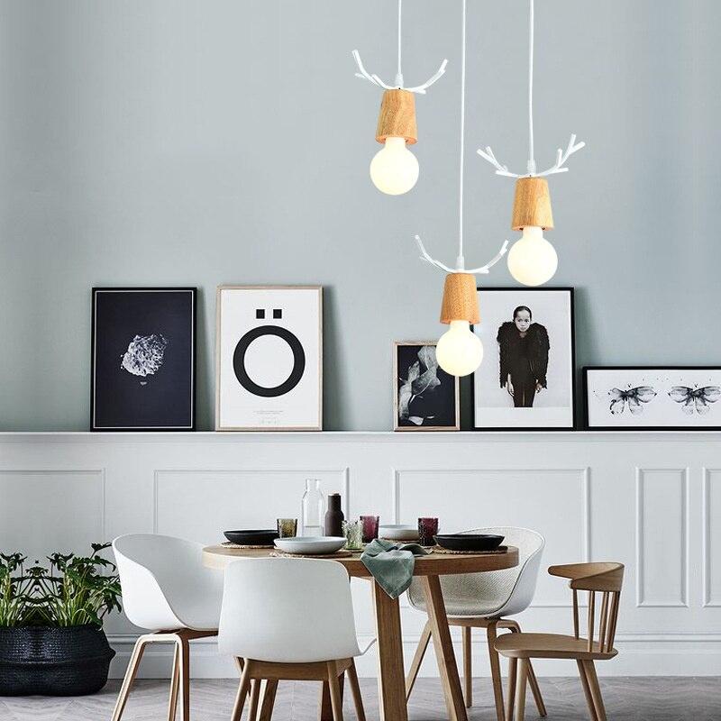 Işıklar ve Aydınlatma'ten Kolye ışıkları'de Modern LED avizeler yatak odası yemek odası demir ve ahşap geyik kafası kolye ışık E27 ev dekorasyon aydınlatma armatürleri title=